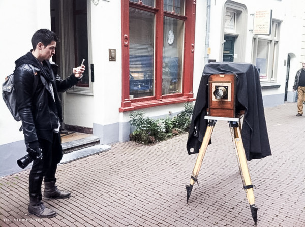 taking a shot of the large format camera