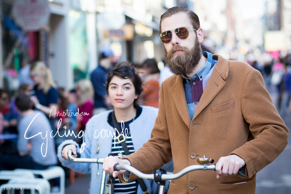 cycling couple retro cyclist camel coat fur stripes beard street style amsterdam | ©THE VIEWFINDER-7083 title